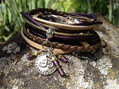 Boho Leather Wrap Bracelet, Yoga Inspired 3X Leather Wrap Bracelet,  Earth Tones, Green, Purple, Bronze and Beige, Om Charm (LW-425)