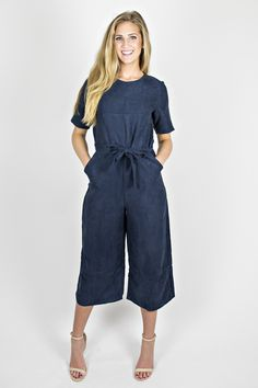 Navy London Culotte Jumpsuit from Eccentrics Boutique  Whisk us away to London in our favorite European style culotte jumpsuit!