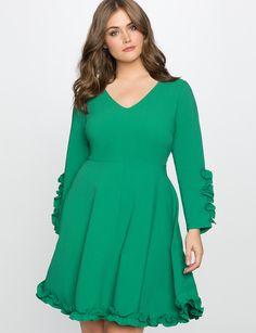 Ruffle Trim Crepe Dress | Women's Plus Size Dresses | ELOQUII