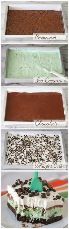 Mint Chip Brownie Ice Cream Squares - kitchenclouds