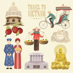 Illustration of Travel to Vietnam. Set of traditional Vietnamese cultural symbols. Vietnamese landmarks and lifestyle of Vietnamese people vector art, clipart and stock vectors. Vietnam Map, Vietnam Travel, Vietnam Restaurant, Beautiful Vietnam, Banner Printing, Cartoon Styles, Travel Posters, My Images, Royalty Free Stock Photos