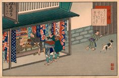 At Narumi, the station of the Tokaido, Yaji tries to buy some of the famous local cloth from a merchant who is engrossed in a game of Go. Japan Painting, A Comics, Baseball Cards, Prints, Poster, Illustrations, Parking Lot, Voyage, Artist