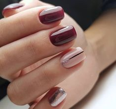 Nails sencillas cortas 68 ideas in 2020 Stylish Nails, Trendy Nails, Cute Nails, My Nails, Plum Nails, Burgundy Nails, Best Acrylic Nails, Summer Acrylic Nails, No Chip Nails