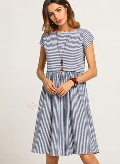 Stripe Cap Sleeve Knee-Length A-line Dress - Gray S Simple Dresses, Casual Dresses, Fashion Dresses, Summer Dresses, Casual Clothes, Linen Dresses, Cotton Dresses, Knee Length Dresses, Short Sleeve Dresses