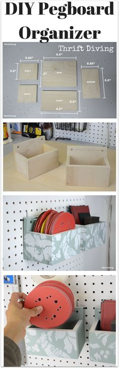 How to make a DIY pegboard organizer - Materials needed include 12 plywood, glue, and paint!