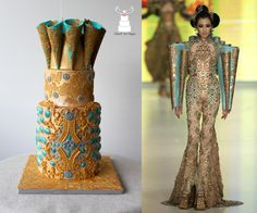 """Couture Cakers International 2018 - """"Jewel"""" - cake by Cláud' Art Sugar Pretty Cakes, Beautiful Cakes, Amazing Cakes, Jewel Cake, Cupcake Tier, Indian Theme, Couture Cakes, Bridal Party Dresses, Dress Cake"""