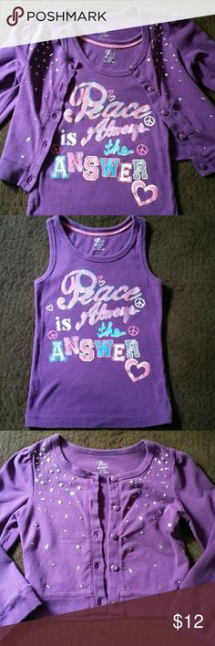 """Two Piece Tank and Cardigan Fabulous purple tank and embellished cardigan set from Childrens Place.  It is one of my favorites! Tank displays the words """"Peace Is Always The Answer"""" and the cardigan has bling!! This set is great for back to school. Lovingly worn ♡ Bundle and save 15% Thanks for looking! Children's Place Matching Sets"""