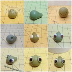 Squirt tutorial from The Cakeldy FB Tutorials Crea Fimo, Fimo Clay, Polymer Clay Projects, Polymer Clay Charms, Fondant Figures, Finding Nemo Cake, Sea Cakes, Fondant Animals, Fondant Tutorial