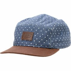 Add some classy style to any outfit with a new Vans Girls Navy Dot Camper 5 panel hat. Grab the classic look of the navy hat with an all-over white dot design, leather Vans logo patch at the front, side vents, leather adjustable strapback sizing piece for