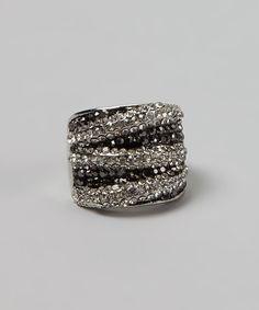 Black & White Stripe Crystal Ring