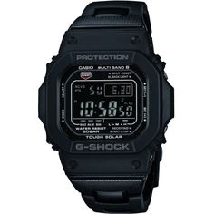This Casio G-Shock radio-controlled watch GW-M5610BC-1ER has a retro feel with the classic square shaped dial and subdued colour scheme but the technology is right up to date. The tough and practical design has a push button clasp and a bracelet that combines black resin and stainless steel. As a G-Shock model this watch is designed to be both shock resistant and is also 200m water resistant. It is also solar powered to remove the need for battery changes. Other features include: an auto…