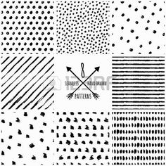 Set of vector abstract hand drawn seamless patterns Black and white doodle universal background made Stock Vector