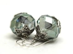 1.25 inches long Smoky Pale Green Faceted Quartz and Bali Silver Earrings | AyaDesigns - Jewelry on ArtFire