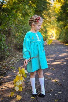 Linen embroidered dress for girls Girls Dresses, Flower Girl Dresses, Fashion Kids, Harajuku, Shirt Dress, Wedding Dresses, Heavenly, Shirts, Style