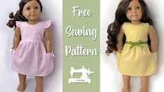 Sewing Doll Clothes, American Doll Clothes, Doll Dress Patterns, Clothes Patterns, Barbie Patterns, Couture, Free Pattern, Ag Dolls, Girl Dolls
