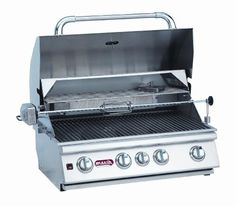 Bull Outdoor Products BBQ 47629 Angus 75,000 BTU Grill Head, Natural Gas Drop-in outdoor grill with four burners plus rear infrared burner for a total of 75,000 BTUs of cooking power. 600 square inch cooking area plus 210 square inch warming rack. Rotisserie for cooking whole birds and other large pieces of meat. Stainless steel cooking grates and full size drip tray