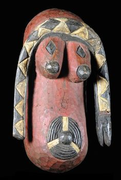 Africa | Body mask from the Limba people of Sierra Leone / Guinea | Wood and paint | ca. 1970s