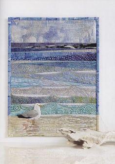 Ocean Quilt, Beach Quilt, Beach Themed Quilts, Aplique Quilts, Fiber Art Quilts, Landscape Art Quilts, Fabric Postcards, Miniature Quilts, Sewing Art