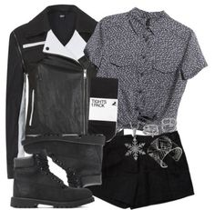 Bobby Drake Insp. Casual Outfit by lauloxx featuring lucky brand jewelryMANGO short sleeve shirt, $32 / DKNY leather jacket, $1,050 / Elizabeth and James black shorts / H M black tight, $13 / Jools by Jenny Brown sterling silver jewelry, $89 / Lucky brand jewelry / Midi ring / Timberland 6-Inch Classic | Black Waterproof Boots | AKIRA