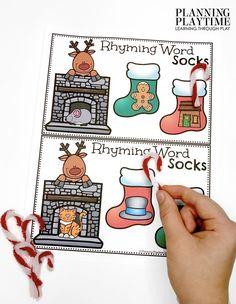 December Preschool Binder: Rhyming Word Stockings Find and Match.