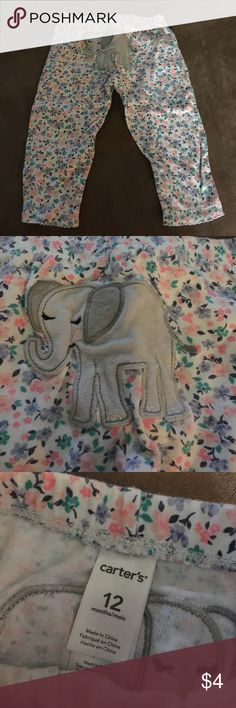 Carters floral leggings with elephant on booty So cute, gently worn Carter's Bottoms Casual