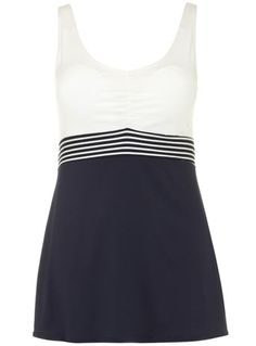 Evans Navy Stripe Swimdress - Exclusives - Clothing PLUS SIZE