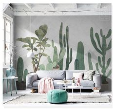 Watercolor Hand Painted Cactus Tropical Plants Wallpaper Wall Mural, Watercolor Cactus Wall Mural, H