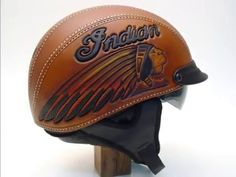 Motorcycle Helmet, Hand Tooled leather Indian Motorcycle  Helmet,  Xianl...