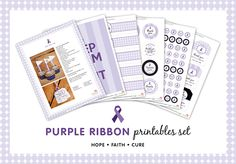 Purple ribbon cancer printables - a 44-page fundraising kit from Chickabug, appropriate for the Relay for Life
