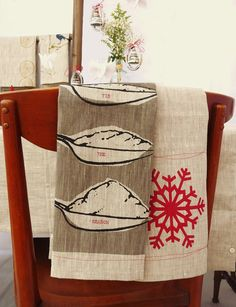 Snowflakes Tea Towel - 100% linen - ecofriendly - fully handcrafted - celina mancurti. $22.00, via Etsy.