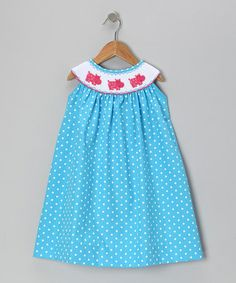 Take a look at this Blue Polka Dot Hippo Smocked Yoke Dress - Toddler & Girls by Secret Wishes on #zulily today!