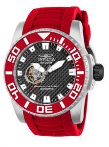 Reloj Invicta Pro Diver, llamativo , distinto, original color rojo tanto en su correa de silicona y bisel giratorio combinandolo todo con el acero mate de su caja. www.relojes-especiales.net #rojo #automático #especiales
