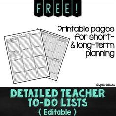FREE Detailed Teacher To-Do Lists: Editable forms for short & long-term planning