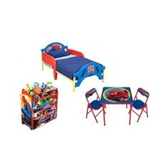 The perfect Bedroom Set for your little one.  Spiderman Toddler Bedroom Set - Toddler Bed Frame Toy Organizer Table Two Chairs - $159.79 On Sale until April 21st.