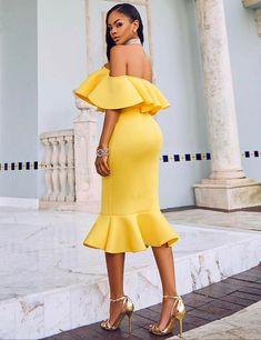 b531c193f6b9 Plus Size Ruffle Off-Shoulder Bodycon Party Yellow Mermaid Dress. Casual DressesSexy  DressesElegant ...