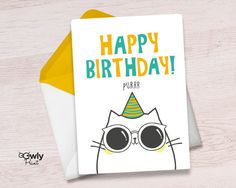 Printable Cat Happy Birthday Card. Ready to print Cat by Owlyprint