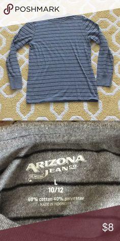 Strip long sleeves Black and Gray long sleeve strip shirt. No flaws. Size 10/12 Arizona Jean Company Shirts & Tops Tees - Long Sleeve
