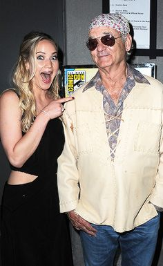 Jennifer Lawrence and Bill Murray backstage at the Open Road panel during Comic-Con International 2015 at the San Diego Convention Center on July 9, 2015 in San Diego, California.