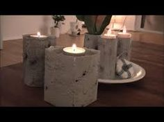 As an alternative of concrete, we use grey textured paste and paint what we like. Tetrapack, bathroom paper rolls, aluminum cans, and many others. every part is designed in concrete look. Cement, Concrete, Solar Licht, Aluminum Cans, Candle Holders, Clay, Candles, Beton Diy, Youtube
