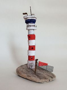 Airport control tower hand made in West-Cork, Ireland from driftwood Airport Control Tower, West Cork, Cork Ireland, Driftwood, Beaches, Buildings, Miniatures, Houses, How To Make