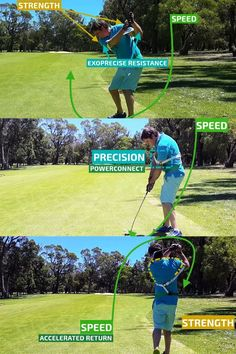 #Exopower defines the phases of our #SportPrecise training method during your #GolfSwing - Throughout the #backswing #Exoprecise forces strengthen the precise #golfing muscles - releasing triggers #ClubheadSpeed starting your #downswing - #GolfPrecise57 #GolfSwingTrainer