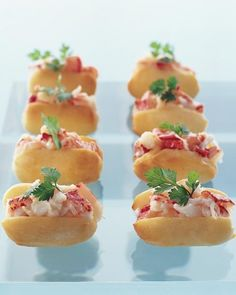 Serving late-night snacks to guests at a wedding reception is becoming more popular -- not to mention the guests love it! Here are some of our favorite recipes for late-night snacks at wedding receptions. Trust us, your guests will be thanking you. Mini Appetizers, Appetizer Recipes, Wedding Appetizers, Appetizer Ideas, Lobster Appetizers, Appetizer Party, Seafood Recipes, Cooking Recipes, Pastry Recipes