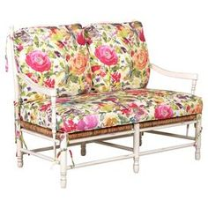 Bring garden-chic elegance to your living room or master suite with this lovely wood-framed loveseat, showcasing woven accents and floral-print cushions for . Printed Cushions, Joss And Main, Decoration, My Dream Home, Beautiful Homes, House Beautiful, Decor Styles, Love Seat, Sweet Home