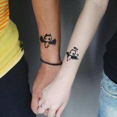 Art devil angel couple tattoos for lovers skin art