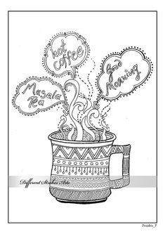 coloring page, adult coloring page, printable coloring pages, adult colouring page, coffee coloring page, instant download colouring page