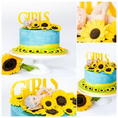 Buttercream covered cake with handmade sugar sunflowers and figure Custom Made topper by Iced Rainbow