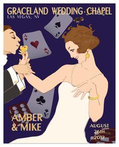 Las Vegas Wedding - Personalized Art Print -16x20