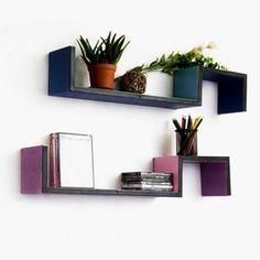Trista - [Wisteria & Sky] S-Shaped Leather Wall Shelf / Bookshelf / Floating Shelf (Set of 2)