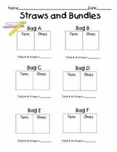 Post describing tens and ones math centers. Include pages for Straws and Bundles and Count the Cubes.