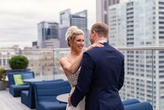 Bride and groom, wedding inspiration, wedding ideas, candid wedding photos, first look photos, rooftop first look, Virgin Hotels Chicago wedding, Emma Mullins Photography